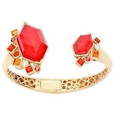 Gold Struck Crystal Haze Bracelet (141 660 SEK) ❤ liked on Polyvore featuring jewelry, bracelets, bracelet bangle, yellow gold bracelet, gold bangles, orange bracelet and 18k yellow gold bracelet