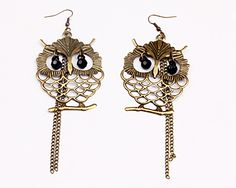 Folk Style Earrings, Alloy material, Size around 65*46mm, Golden color, Owl shape, Stunning and elegant, You will love the fashion and the classical tastes, Sold per unit,1 pair per unit.