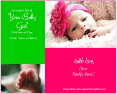 Birth Announcement Templates for Girls