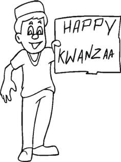 the boy happy kwanzaa holidays coloring page
