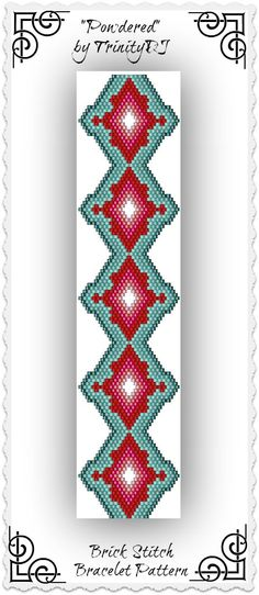 BP-BR-136 - Powdered - Shaped Brick Stitch Bracelet Pattern - One of a Kind - In The RAW Design