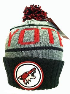 Phoenix Coyotes Mitchell and Ness Cuffed Pom Knit Hat NWT 0a7d48c03
