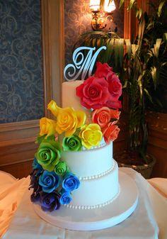 Rainbow Rose Wedding Cake cakepins.com