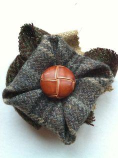Grey Tweed Brooch with Vintage Button