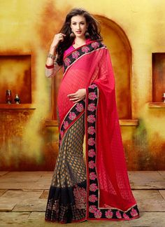 New arrivals!!  Gambling Pink And Grey Patch Border Work Designer Saree  Product Order Link http://www.usarees.in/new-arrivals/gambling-pink-and-grey-patch-border-work-designer-saree-2828  Call or Whatsapp : +919377152141 Now Got It!!