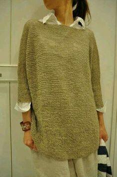 Hand knit Tunic sweater grey e |