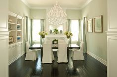 love the dark floor against the white and big light