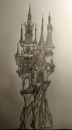 Castle Sketch, Castle Drawing, 3d Art Drawing, Pencil Sketch Drawing, Graffiti Drawing, Art Drawings, Castle Tattoo, Medieval Dragon, Chateau Medieval