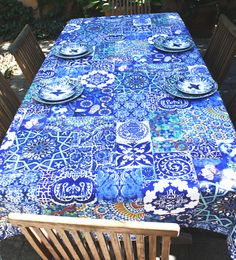 Patchwork Blue tablecloth from Anna Chandler Design, Australia.