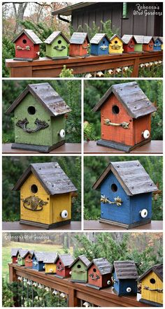 Smaller birdhouses in the Etsy shop! Rustic birdhouses, colorful birdhouses, wood birdhouses, painted birdhouses Rebecca's Bird Gardens RebeccasBirdGarde… Bird Houses Painted, Bird Houses Diy, Painted Birdhouses, Rustic Birdhouses, Birdhouse Ideas, Homemade Bird Houses, Birdhouse Designs, Wooden Bird Houses, Decorative Bird Houses