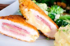 Chicken Cordon Bleu: It is very quick and easy to prepare and full of flavors stuffed with ham and melted cheese and it is baked with vegetables. Baked Chicken Cordon Bleu, Chicken Cordon Bleu Casserole, Easy Baked Chicken, Healthy Chicken, Blue Chicken, Pollo Chicken, Wiener Schnitzel, Meat Recipes, Mexican Food Recipes