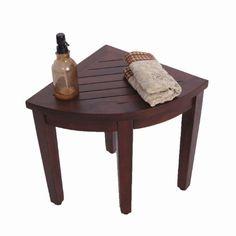 "Oasis Teak Corner Shower Bench(Fully Assembled)- 15.5""- Sitting, Storage, Shaving - Teak-Shower-Bench"