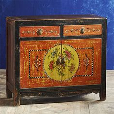 Chinese Painted Cabinet from Wisteria
