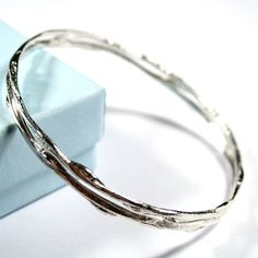 Beautiful hand made silver double band bangle from a casting of Scottish willow. 25 Wedding Anniversary Gifts, 9th Anniversary, Contemporary Jewellery, Silver Bangles, Charm Jewelry, Bangle Bracelets, Jewelry Making, Sterling Silver, Band