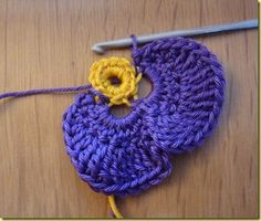 DIY Crochet Violet Flower Free Pattern Detailed Tutorial, English Pattern available, crochet pansy flower for fashion, accessory and home. Crochet Butterfly Free Pattern, Crochet Flower Patterns, Crochet Stitches Patterns, Crochet Designs, Crochet Diy, Crochet Crafts, Yarn Crafts, Crochet Small Flower, Crochet Flowers