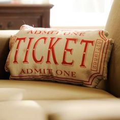 Red Movie Ticket Accent Pillow | Kirkland's ~ I NEED this for the basement!!