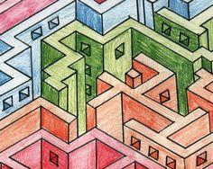 Maze drawn in isometric.