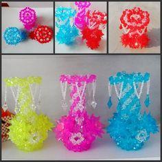 Handmade Beadwork Vase Home decor handmade Crystal Immitation Flower Holder