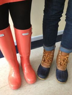 Hunter boots and Bean boots.