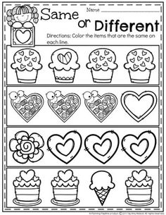 Valentine's Worksheets for Preschool - Same or Different. #valentines #preschoolworksheets #preschool #worksheets