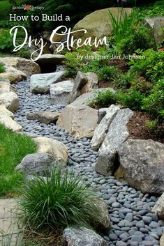 Garden Design A Beautiful Way to Catch Runoff: How to Build a Dry Stream - Garden Therapy - How to build a dry stream — a landscaping design that looks like a decorative garden feature even though it is also a practical solution to garden runoff. Landscaping Supplies, Front Yard Landscaping, Backyard Landscaping, Landscaping Ideas, Backyard Privacy, Dry Riverbed Landscaping, Sidewalk Landscaping, Natural Landscaping, Sloped Backyard