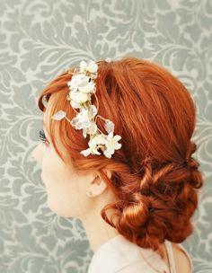 Bridal headband, ivory floral crown, hair accessory - Winifred. $50.00, via Etsy.