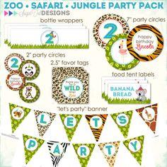 Zoo, Jungle, Safari Themed Birthday, Wild Animals Party Pack - PRINTABLE
