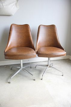 Vintage MidCentury Modern Vinyl Bucket Chairs Pair by laurensharon, $425.00