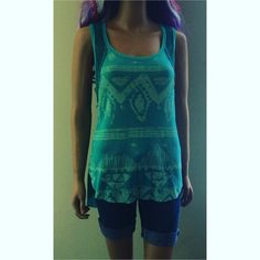 Free People Turquoise Thermal Crochet Boho Tanktop Omg love this shirt just have so many clothes & keep on buying more  Only worn a couple times like new condition. We The Free by Free People Thermal like Tanktop with southwest boho design on the front sign crochet detailing. Love the turquoise color! Super unique cut as all Free People stuff... My fave designer! Size Medium. Check out my Closet I love to Bundle Discount Free People Tops Tank Tops