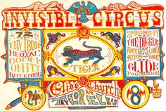 Invisible Circus Poster - animal cracker graphic and typography inspiration Old Circus, Circus Art, Circus Theme, Circus Train, Vintage Circus Posters, Carnival Posters, Cirque Vintage, Vintage Carnival, The Invisible Circus