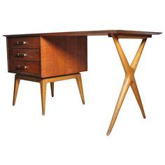 Fine Renzo Rutili Partners Desk for johnson - manner of Parzinger Paul Frankl   1stdibs.com