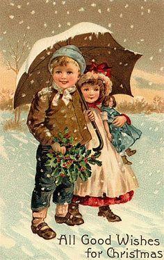 Vintage Christmas Fabric Block Victorian Kids Umbrella Snowy All Good Wishes c850e0211261