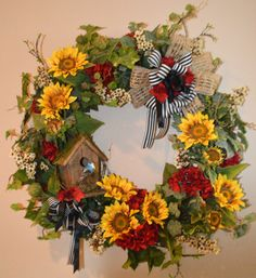 Spring Sunflower Wreath Birdhouse Wreath by TheBloomingWreath