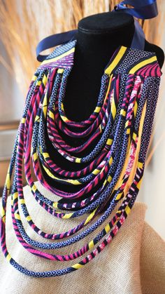 Ankara/ African Wax Print Tribal MultiLayered Rope by MontoyaMayo