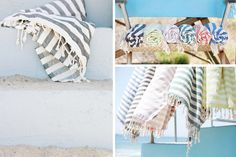 Authentic 100% Cotton Woven Turkish Towels With Modern Stripe Pattern In 6 Colors. The lightweight fabric dries quickly and makes a great beach blanket or yoga mat. Authentic Turkish towels are a luxury and add a fresh feel to your bathroom decor or at the beach and pool