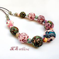 Handmade Polymer Clay Bead Necklace Colorful Boho by MSwithlove