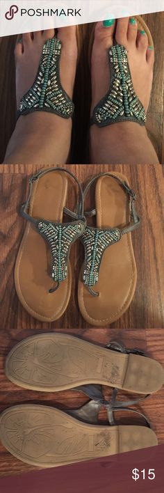 Women's sandals Women's thong type sandals gray and green with silver accent Report Shoes Sandals