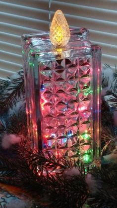 Christmas-Glass Block Candle by montse.esquivel.779