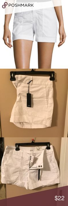 a.n.a roll cuff, trouser pocket crisp white shorts NWT crisp white shorts with roll cuff around legs. Trouser type slanted front pockets. Button close back pockets. 98% cotton with 2% spandex gives these shorts a super cool, light and soft feel. Never been worn, tags still attached. Size is 30/ 10 a.n.a Shorts