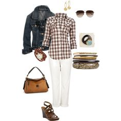 Brown gingham by aldowney on Polyvore featuring мода, Elizabeth and James, American Eagle Outfitters, rag & bone, Nine West, Topshop, A.N.A and STELLA McCARTNEY