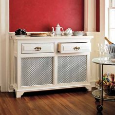 Turn a radiator into a sideboard with metal grills, drawers for silverware and a marble top that doubles as a food warmer in winter. | Photo: Steve Randazzo | thisoldhouse.com