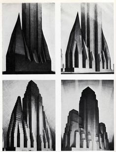 Illustrator Hugh Ferris' drawings show possibilities the new Zoning Law offered for future skyscrapers. c. 1922 Kinda to do with my current art project