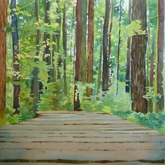 Painting a forest with watercolor and mixed media : step by step tutorial, following your own path by SANDRINE PELISSIER on ARTiful, painting demos