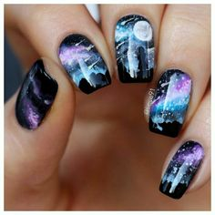 Ideas for Galaxy Nail Designs Are you mesmerized by the galaxy nails trend? We think that this manicure design is one of the most fabulous. See our ideas of starry nails. Best Acrylic Nails, Acrylic Nail Designs, Cool Nail Designs, Cute Nail Art, Cute Nails, Diy Nails, Manicure, Galaxy Nail Art, Diy Galaxy