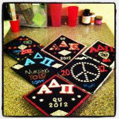 ADPi College Graduation Caps Maybe some coasters as gifts at a grad party Graduation Cap Decoration, Graduation Caps, Grad Cap, College Graduation, Gamma Sigma Sigma, Alpha Delta, Gamma Phi, Best Caps, Cap Decorations