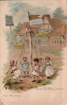 Helen Jackson - English- (1855-1911) vintage postcard -Maypole dance
