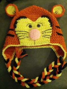 Crochet Happy Tiger Hat by on Etsy Childrens Crochet Hats, Crochet Kids Hats, Crochet Beanie Hat, Cute Crochet, Crochet Crafts, Crochet Toys, Crochet Projects, Knitted Hats, Knit Crochet