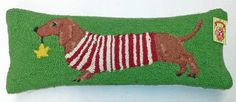 Red Smooth Dachshund Holiday Star Wool Hooked Dog Throw Pillow www.aloveofdogs.com