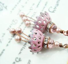 Torch Fired glass enamel Pink Lace earrings by freerangeart