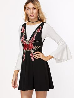 Shop Black Flower Embroidered Double V Neck Sleeveless Skater Dress online. SheIn offers Black Flower Embroidered Double V Neck Sleeveless Skater Dress & more to fit your fashionable needs.